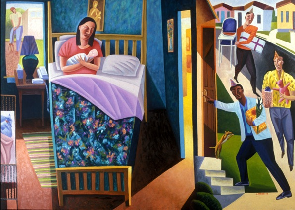 Art for Advent: Nativity, James B Janknegt, 2002, oil on canvas | Sacraparental.com