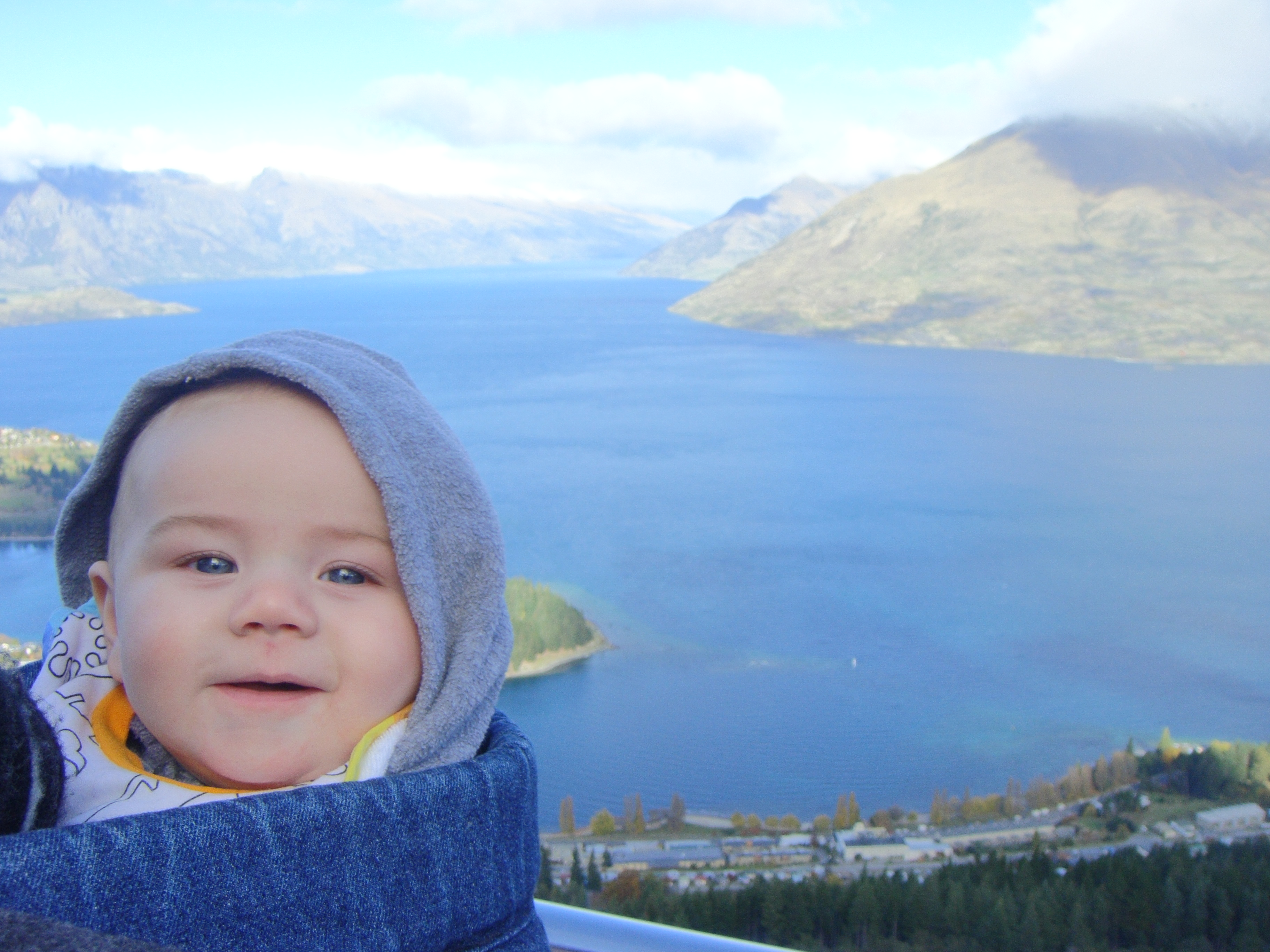 SBJ in Queenstown at five months. He doesn't fit in that frontpack now, for sure.