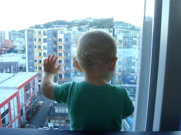 SBJ admiring the view from our new place.