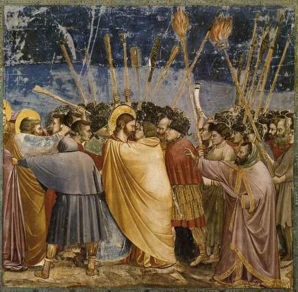 Judas kisses Jesus, Giotto di Bondone, Arena Chapel, Padua