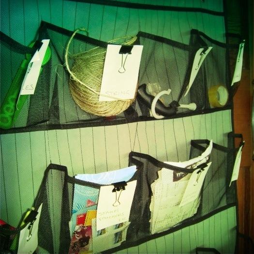 11 best home organising tips - hanging pockets | Sacraparental.com