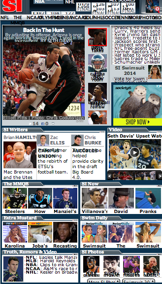 Sports Illustrated homepage screenshot, sexism in Sports Illustrated, feminist parenting, objectification of women, marginalisation of women in sport