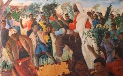 Zambian artist Emmanuel Nsama depicts the Triumphal Entry into Jerusalem. More Palm Sunday resources at Sacraparental.com