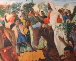 Zambian artist Emmanuel Nsama depicts the Triumphal Entry into Jerusalem. More Palm Sunday resources at Sacraparental.com