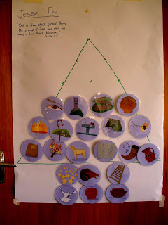 Our Jesse Tree with symbols attached.