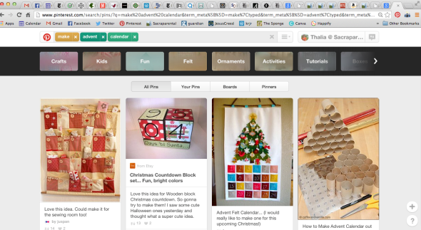 Screen shot of Pinterest Advent Calendars search.