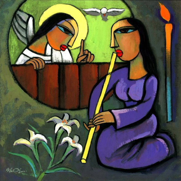 Art for Advent: Annunciation, He Qi | Sacraparental.com