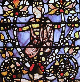 England, York Minster, panel from Jesse Tree window which may be the oldest stained glass in England, c 1170, possibly as early as 1150.
