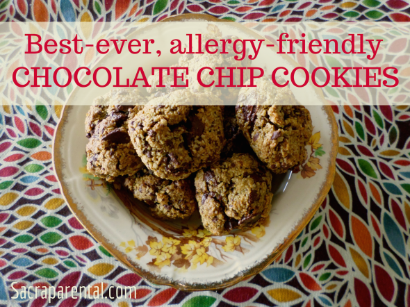 Recipe! Best-ever allergy-friendly chocolate chip cookies. Dairy free, egg free, wheat free, gluten free (contain oats) nut free (and more) And DELICIOUS! | Sacraparental.com