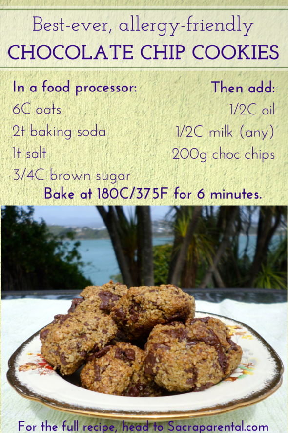 Recipe for the best-ever allergy-friendly chocolate chip cookies! Dairy free, egg free, nut free, wheat free, gluten free (contain oats). And DELICIOUS! | Sacraparental.com